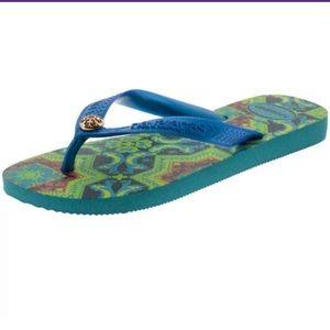 NWT Havaianas Flip Flop Top Gracia CF Azul Sz 7/8